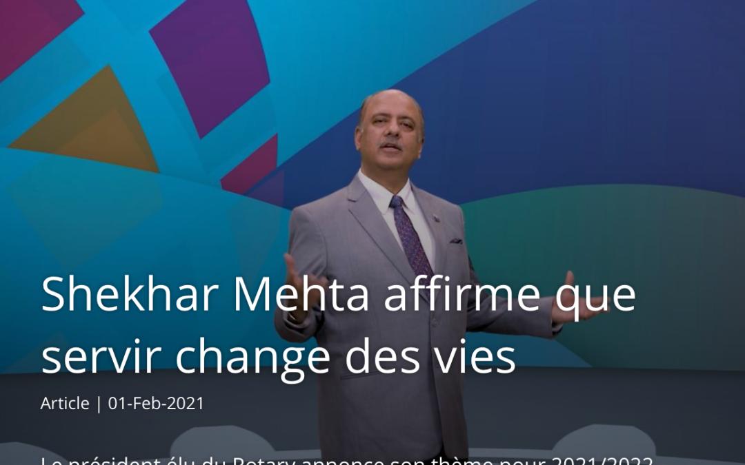 Shekhar MEHTA, président élu du RI 2021-2022